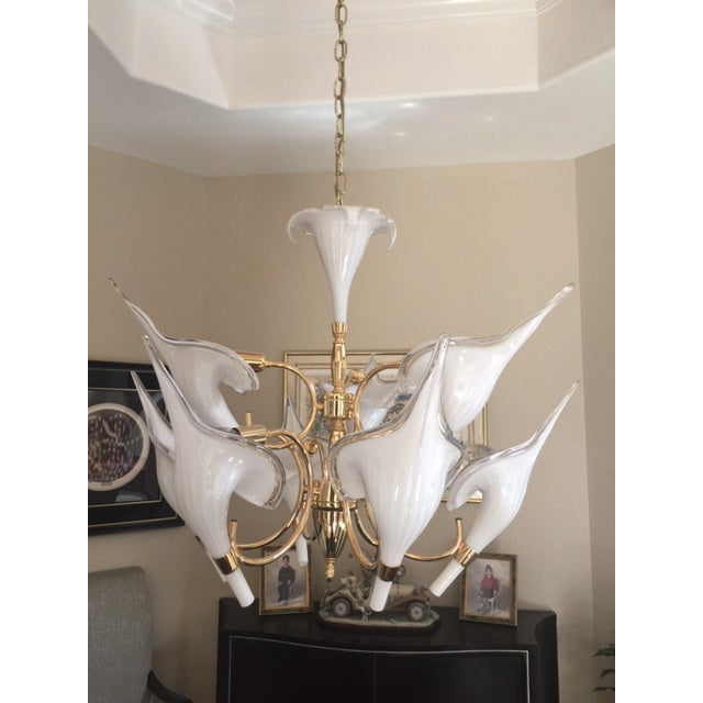 Beautiful Murano Calla Lily Chandelier by Franco Luce - Image 2 of 5