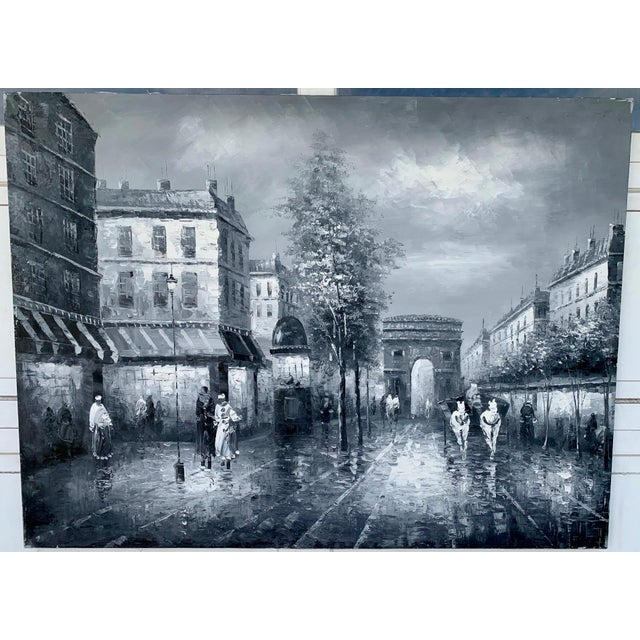 Canvas 1960s Vintage Grayscale l'Arc d'Triomphe Painting For Sale - Image 7 of 7