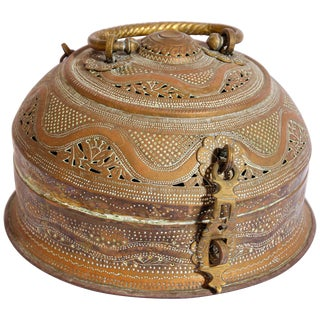 Anglo Indian Brass Tea Caddy Box For Sale