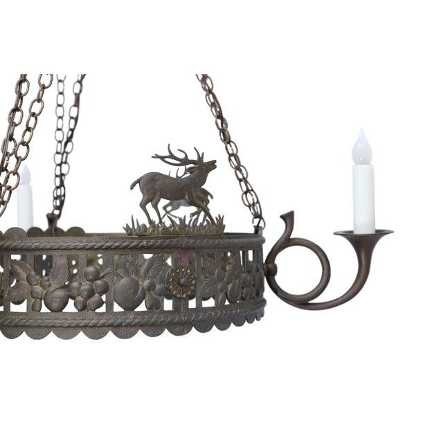 Cabin Vintage Brass Hunt Chandelier For Sale - Image 3 of 13