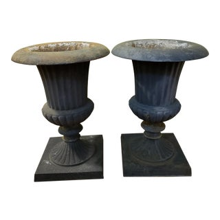 Traditional Neoclassical Iron Urns or Garden Planters - a Pair For Sale