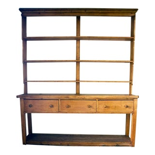English Pine Dresser With Shelves For Sale