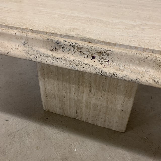 1990s Italian Travertine Marble Dining Table For Sale - Image 5 of 13