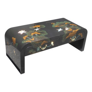 Vintage Black Lacquered Chinoiserie Asian Floral Design Two Drawer Coffee Table