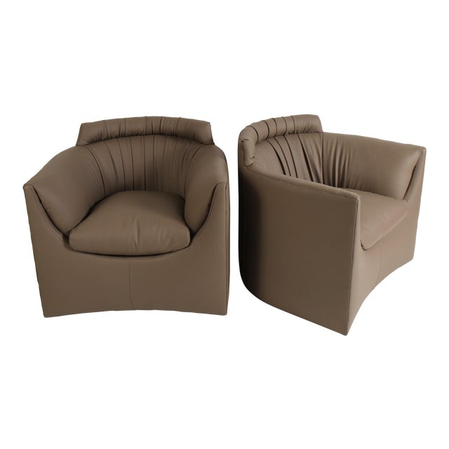John Saladino for Baker Leather Lounge Chairs For Sale