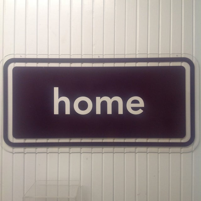 Industrial Acrylic or Lucite Double Sided Home Sign Clear & Burnt Umber For Sale - Image 3 of 4