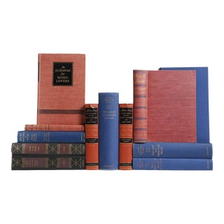 Music Reference Library in Red & Blue - Set of 12 For Sale