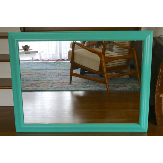 1970s Boho Chic Aqua Framed Wall Mirror For Sale In Seattle - Image 6 of 6