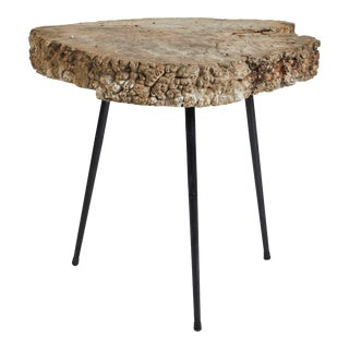 Mid-Century Tree Trunk Table With Slim Metal Legs From France For Sale