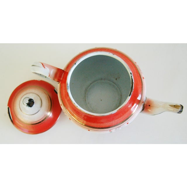 1930s French Enamelware Hand-Painted Teapot - Image 7 of 7