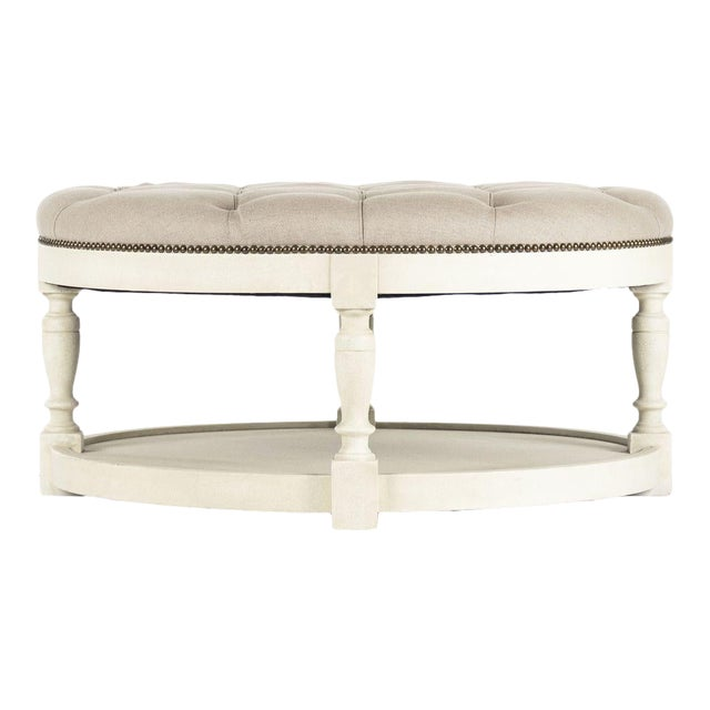 Edmonds Ottoman in Natural Linen For Sale
