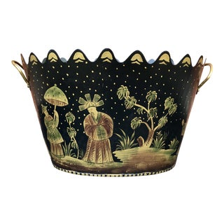 Sarreid Ltd Chinoiserie Tole Cachepot Planter For Sale