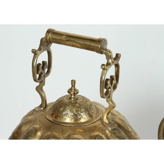 Moroccan Brass Kettle on Stand Handcrafted in Fez Morocco For Sale - Image 9 of 11