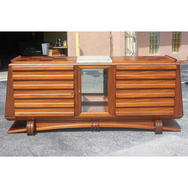 Art Deco 1940s Gaston Poisson French Art Deco Mahogany Sideboard / Buffet For Sale - Image 3 of 10
