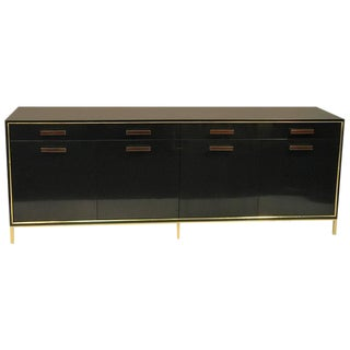 EXCEPTIONAL AND RARE HARVEY PROBBER SIDEBOARD, OR CREDENZA WITH BRASS TRIM