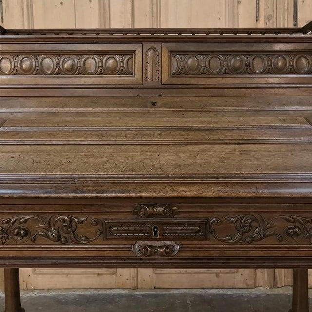 19th Century French Henri II Walnut Secretary For Sale - Image 9 of 11