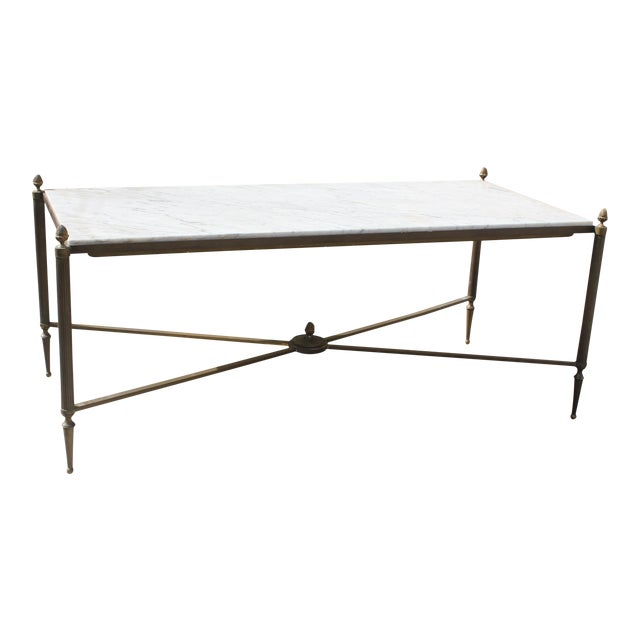 Long Maison Jansen Coffee Or Cocktail Table Bronze Rectangular With Marble Top Circa 1940s For Sale