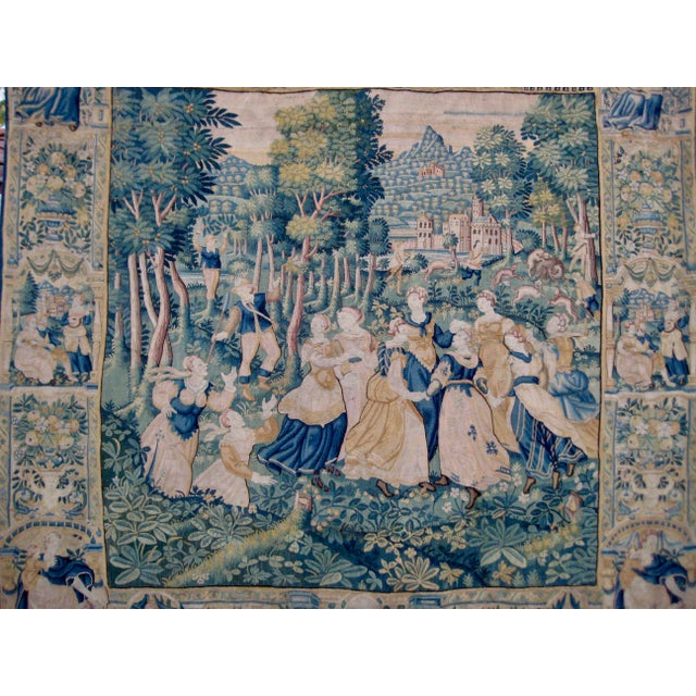 This piece is a major example of the extreme quality of what was made in tapestry in the flemish part of Europe circa 1550...