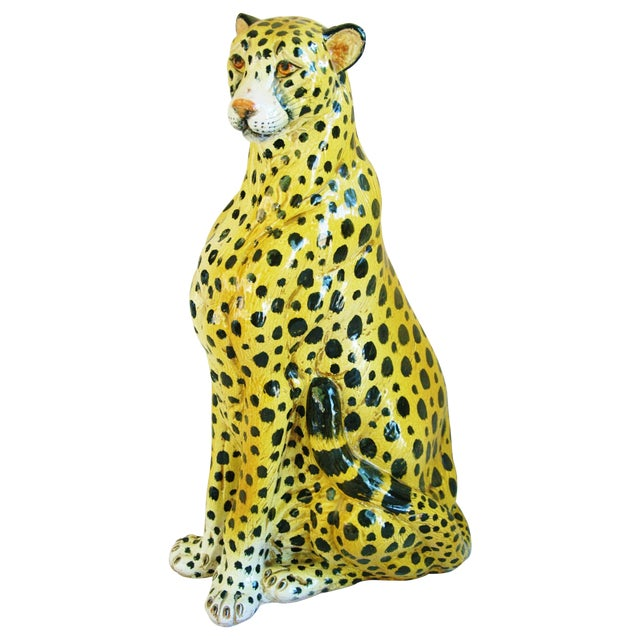 Large Hand-Painted Italain Terracotta Cheetah - Image 1 of 11