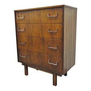 Vintage Mid Century Modern Danish Style Walnut & Chrome 4 Drawer Chest Dresser For Sale