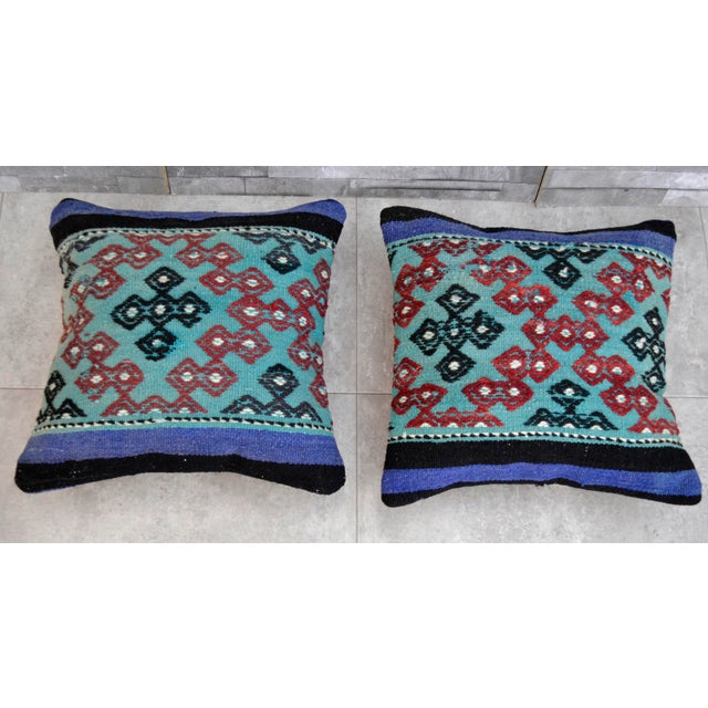 Vintage Turkish Kilim Pillow Covers - A Pair For Sale - Image 4 of 4