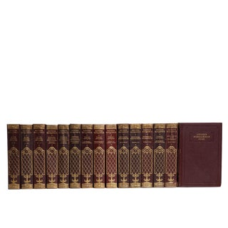 Vintage Burgundy & Gilt Book Collection: Modern Eloquence For Sale