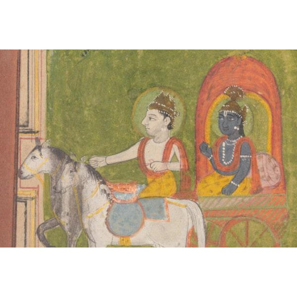 Krishna in Chariot Miniature Indian Painting For Sale - Image 5 of 10