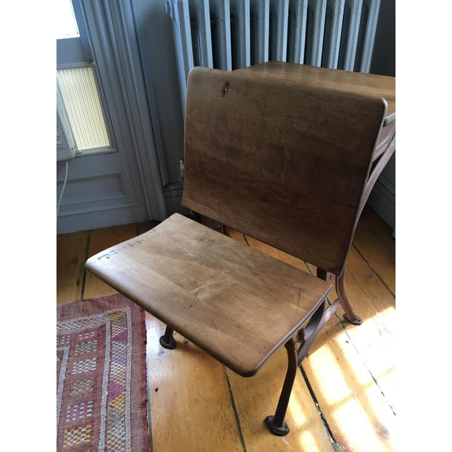 Early American Vintage School Desk & Bench Chair For Sale - Image 3 of 7