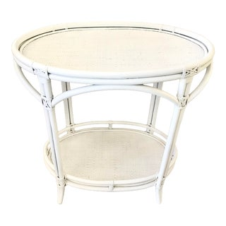 Boho Chic Oval Rattan Bar Table White Lacquer For Sale