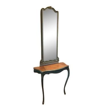 Antique Aqua-Painted Mirror & Console - Image 1 of 5