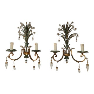 Maison Bagues Green Beaded Tole Sconces Pineapple With Drops and Spears For Sale