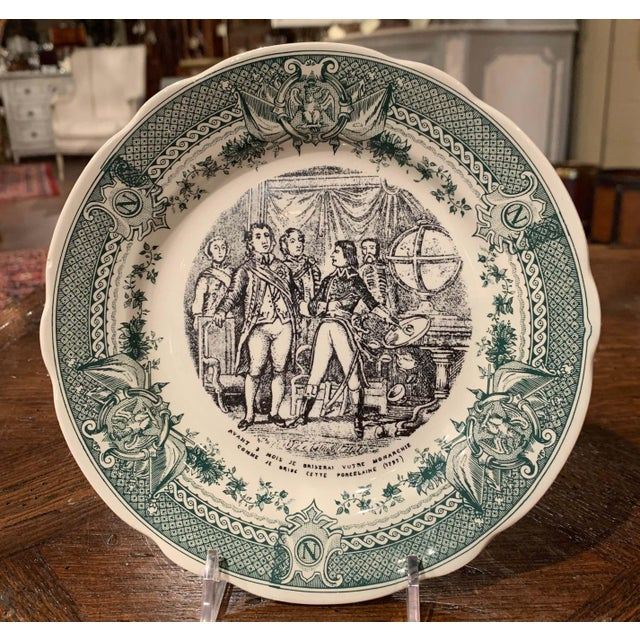 Mid 19th Century 19th Century French Painted Napoleonic Sarreguemines Ceramic Plates-Set of 9 For Sale - Image 5 of 13