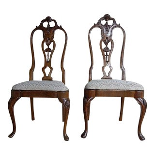 1920s American Classical High Back Carved Wood Side Chairs - a Pair