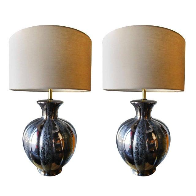 Glamorous Ceramic Metallic Table Lamp - Pair - Image 1 of 6