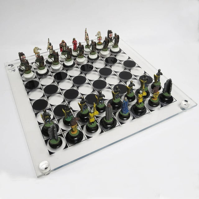 Chess Set With Painted Lead Medieval Figures on Lucite Board For Sale - Image 9 of 9