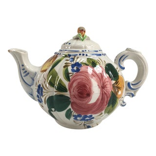 Vintage Hand-Painted Italian Floral Teapot