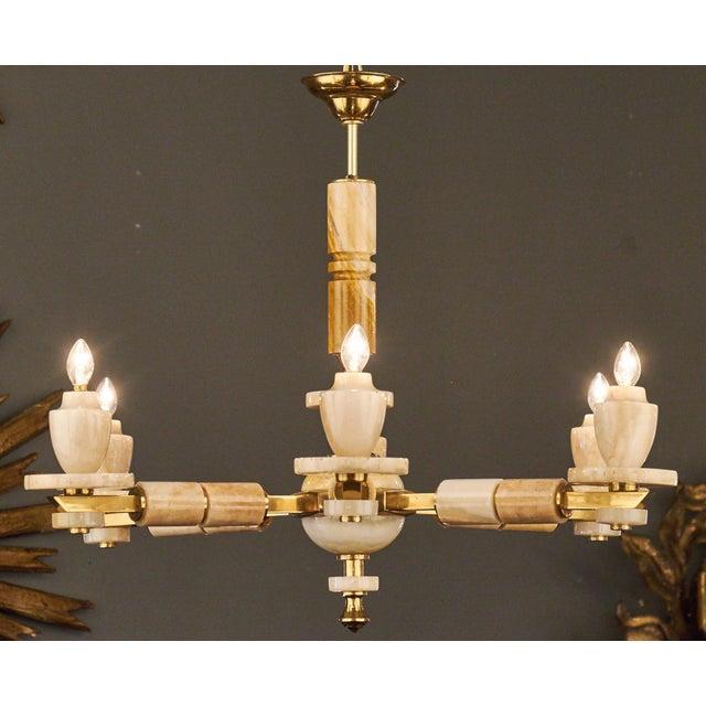 Mid-Century Modern Italian Six-Arm Onyx Brass Chandelier For Sale - Image 3 of 11