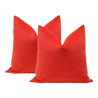 "22"" Vermillion Red Velvet Pillows - A Pair"