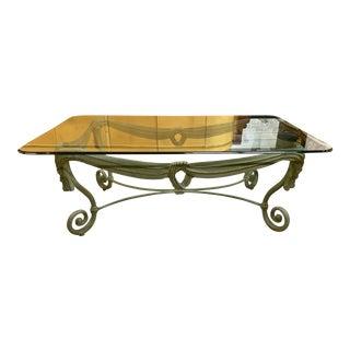 1960s Italian Iron Glass Top Coffee Table For Sale