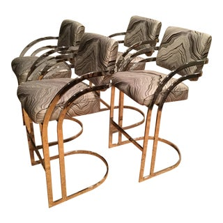 1970s Mid-Century Modern Milo Baughman Chrome Cantilever Bar Stools - Set of 4 For Sale