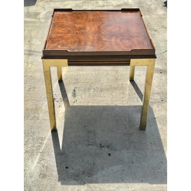 Vintage Drexel Heritage Connoisseur Burl Wood and Brass Leg Side Table For Sale - Image 12 of 12