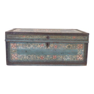 19th Century Chinese Export Blue Leather Trunk For Sale