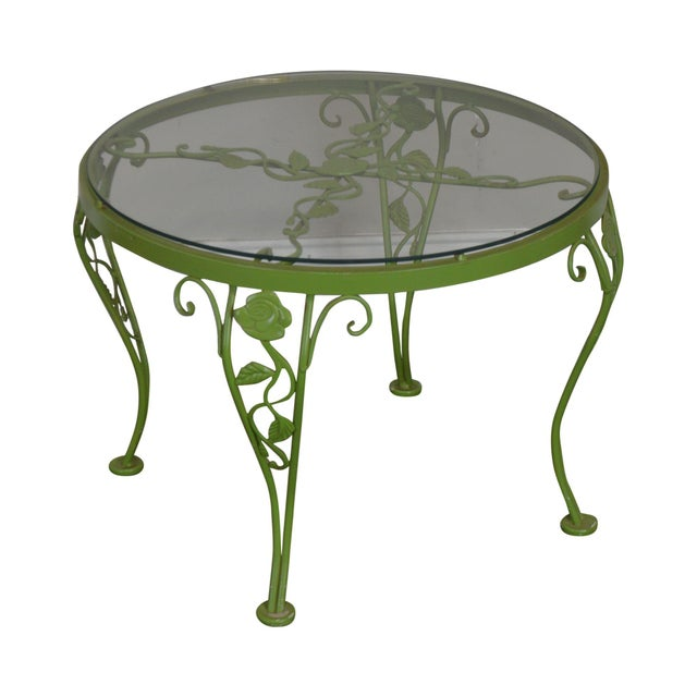 Woodard Chantilly Rose Garden Vintage Green Painted Wrought Iron Round Patio Side Table For Sale - Image 13 of 13