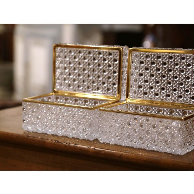 Pair of Early 20th Century French Baccarat Cut Glass and Brass Jewelry Boxes For Sale In Dallas - Image 6 of 10