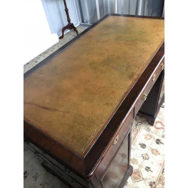 Metal 19th Century Regency Kneehole Desk of Mahogany For Sale - Image 7 of 12