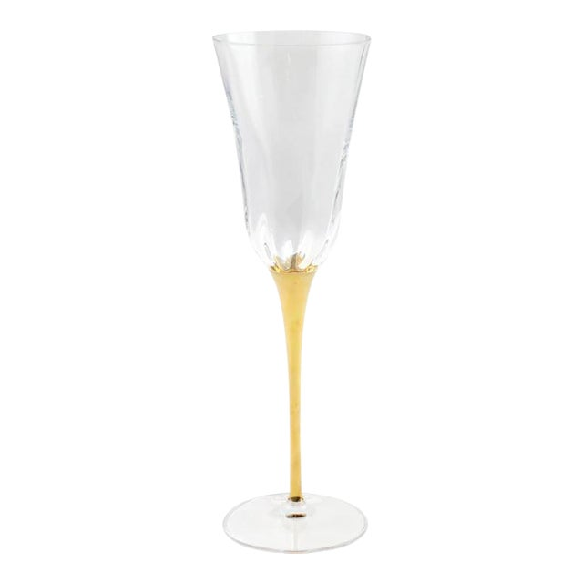 Kenneth Ludwig Chicago Optical Gold Stem Champagne Flutes For Sale