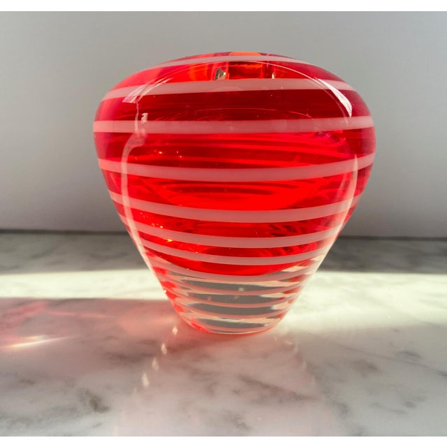 Murano 1960s Murano Red and White Striped Heart Vase For Sale - Image 4 of 7