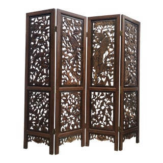 Chinese Four-Panel Carved Rosewood Room Divider Screen For Sale