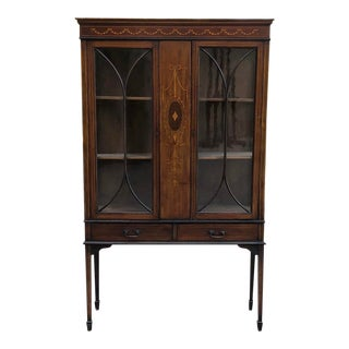 19th Century English Inlaid Mahogany Curio Cabinet ~ Vitrine For Sale