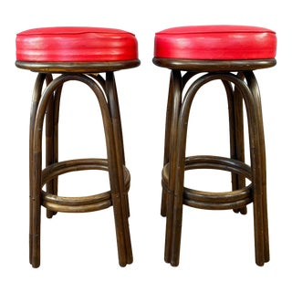 1950s Pair Tiki Kalp-Son Vintage Bamboo Bar Stools For Sale